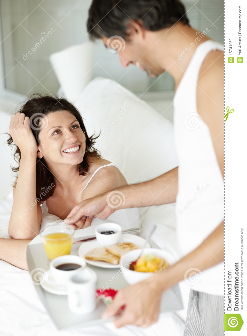 Happy Husband Serving Breakfast For Wife To Bed Stock