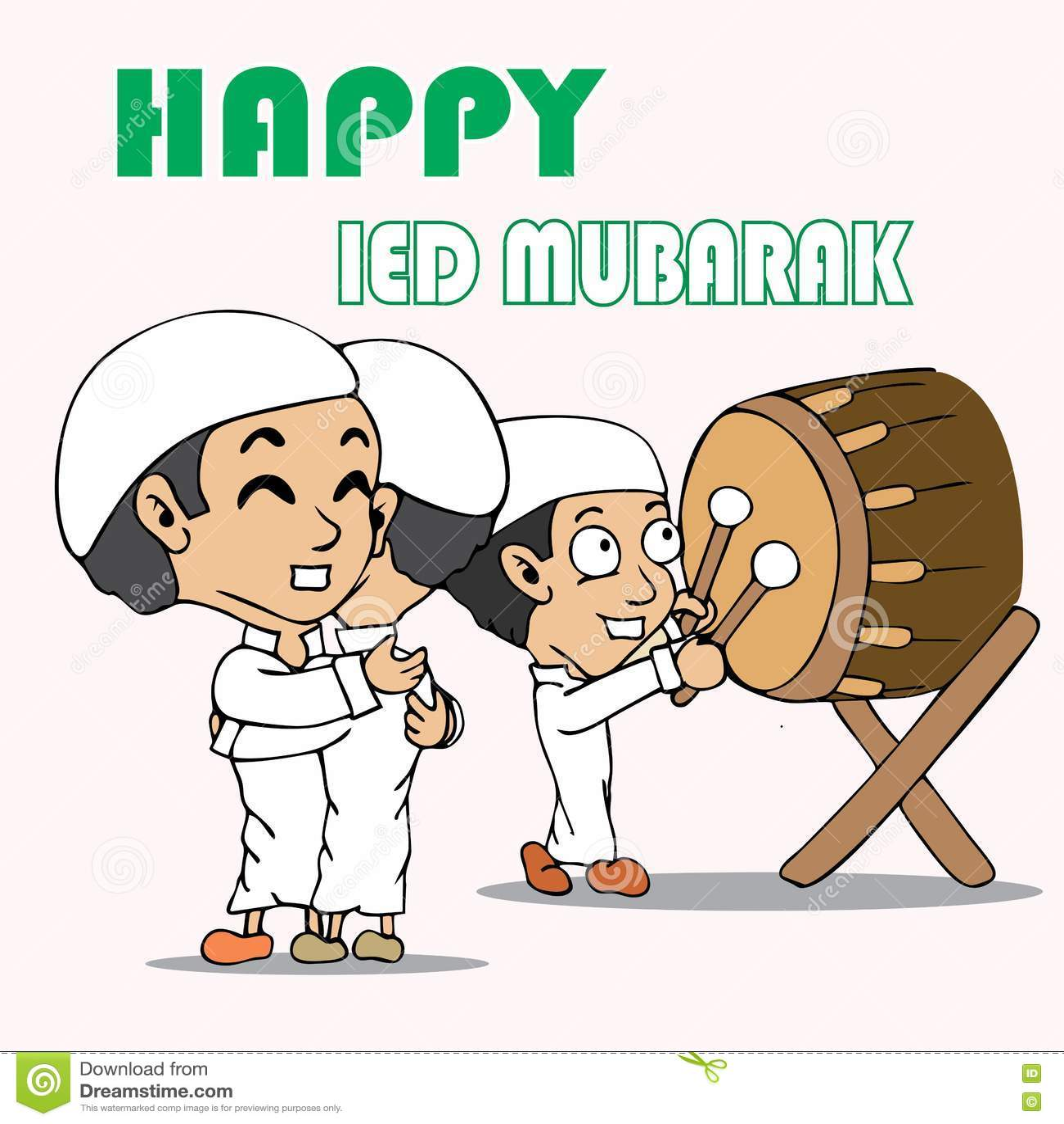 Happy Ied Mubarak Cartoon Stock Illustration. Illustration