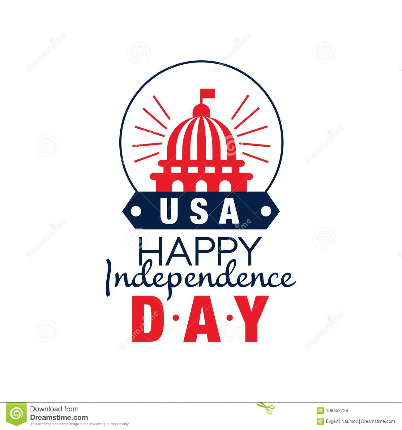 Happy Independence Day Emblem Silhouette Of United States Capitol