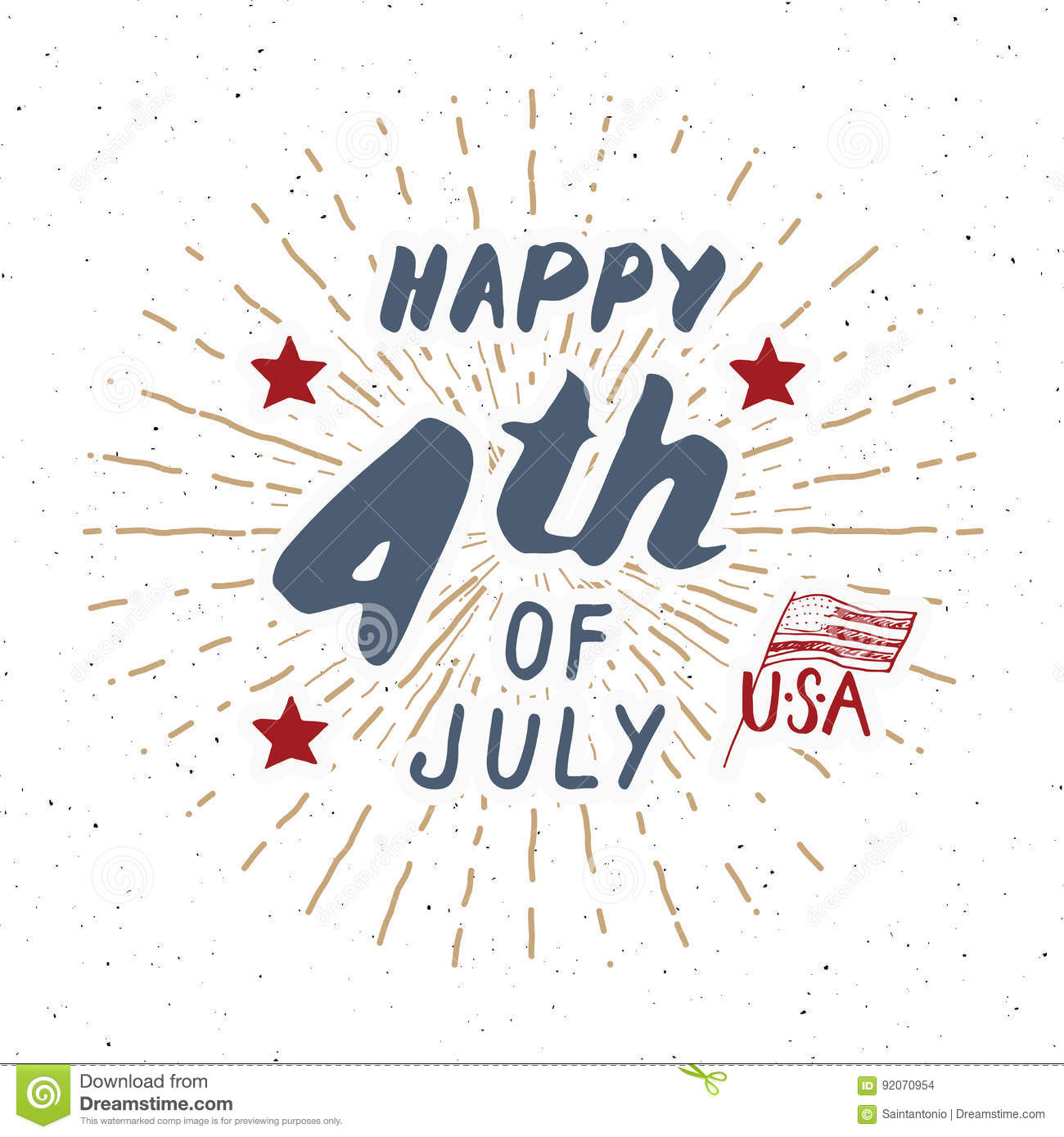 Happy Independence Day Fourth Of July Vintage Usa Greeting Card