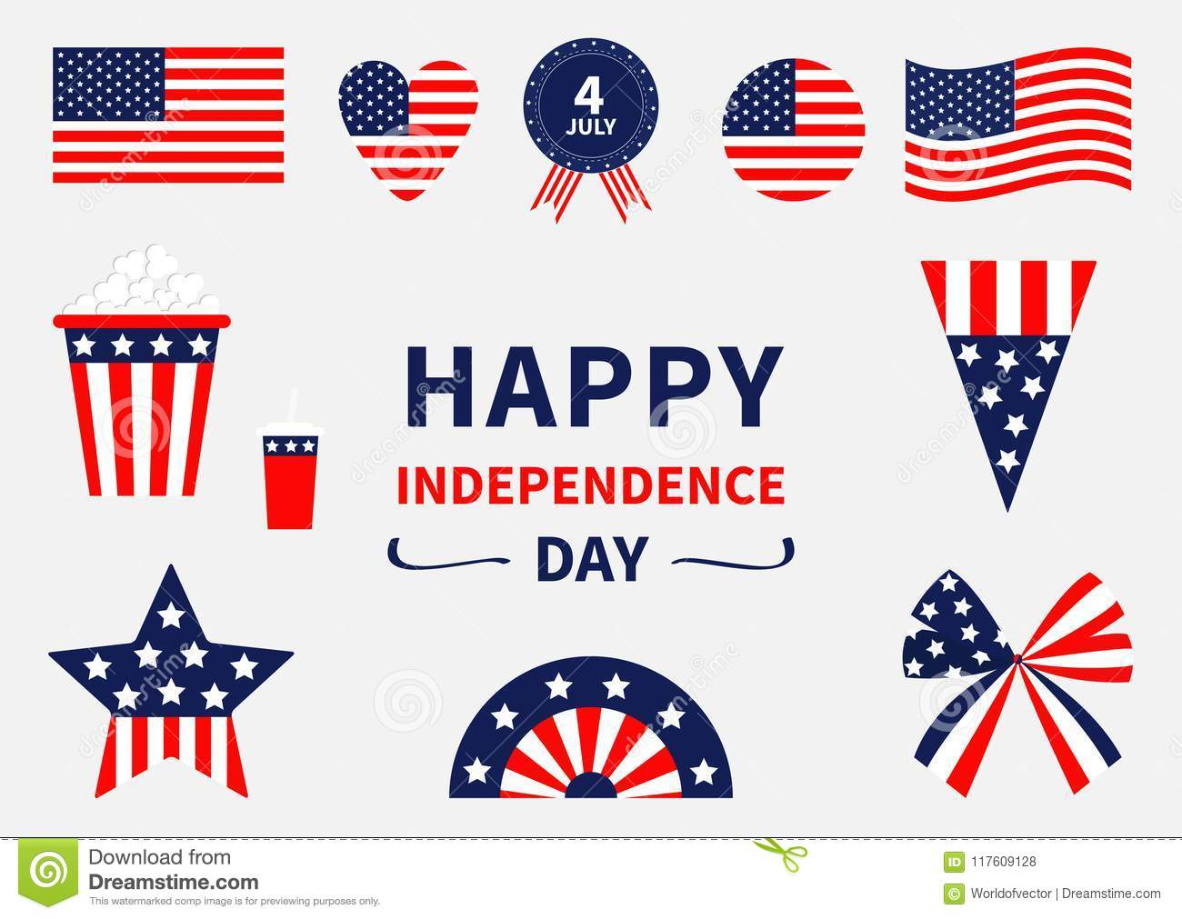 Happy independence day icon set. United states of America. 4th of July. Waving, crossed american flag, heart, round shape, badge w