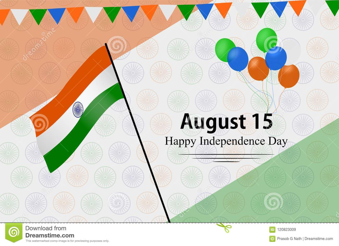 Happy Independence Day India With Ashok Chakra Texture Stock Vector