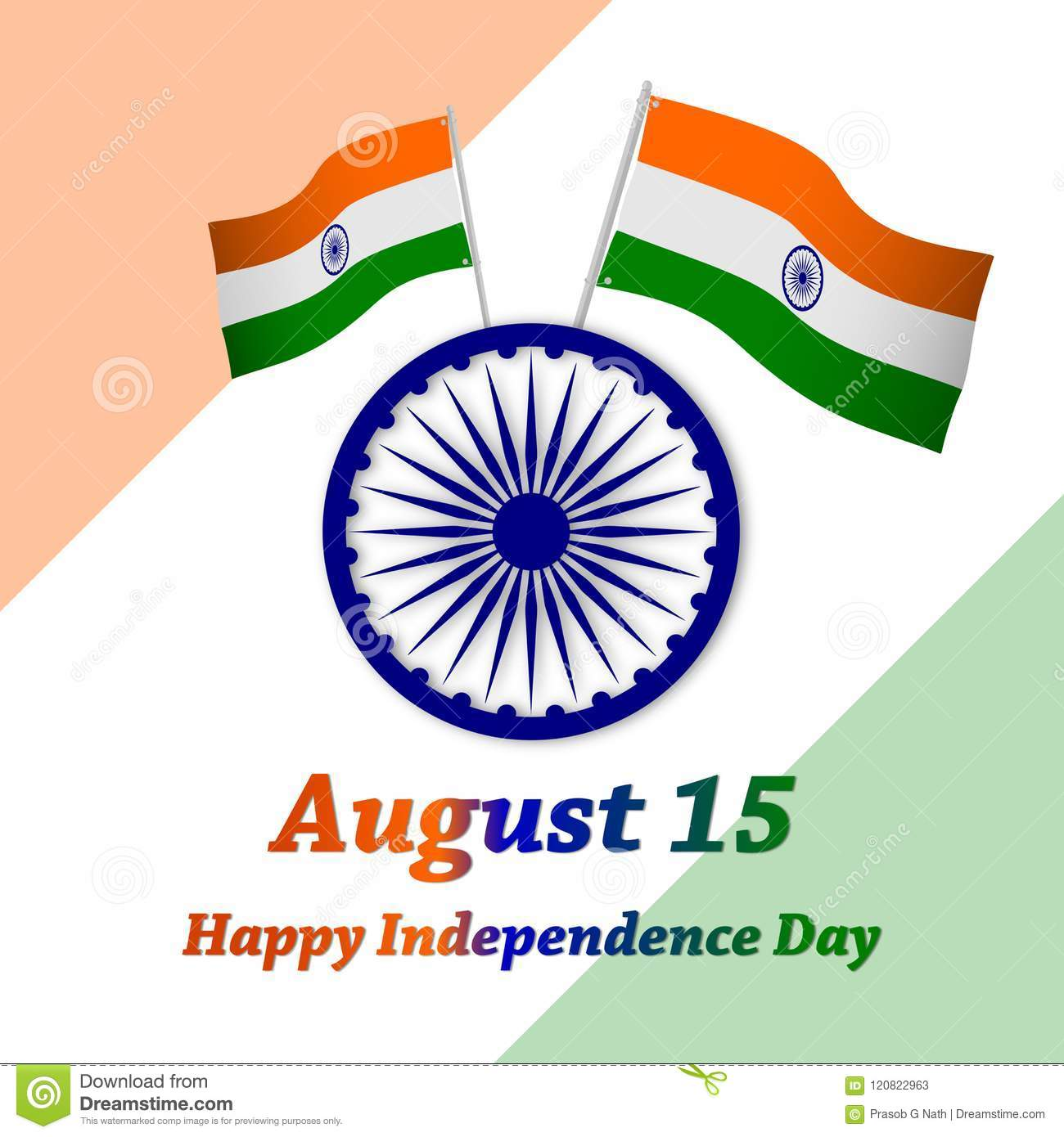 Happy Independence Day India August 15eeting Card Vector Stock
