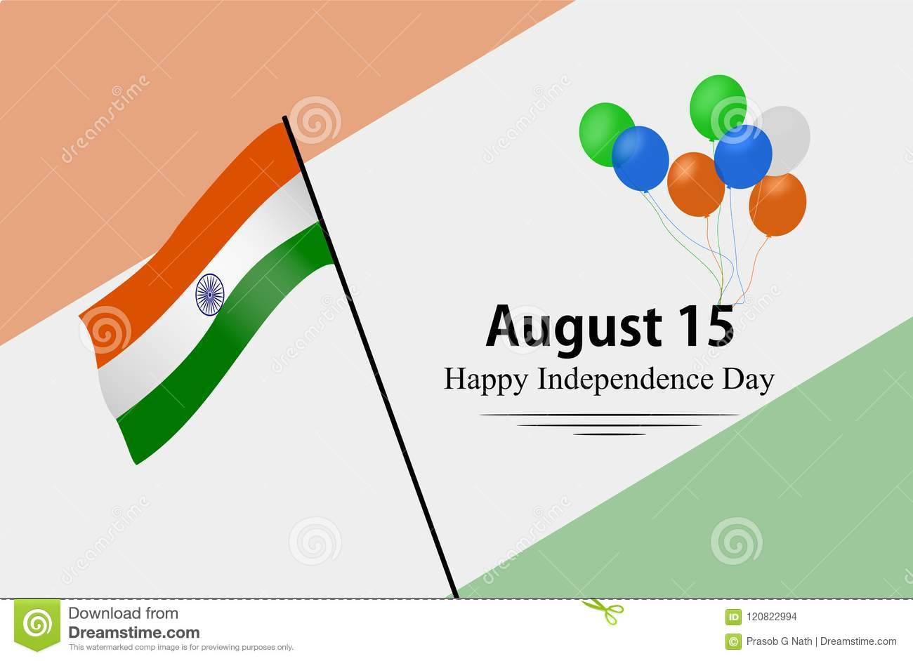 Happy Independence Day Of India 15th August Eeting Card Vectors