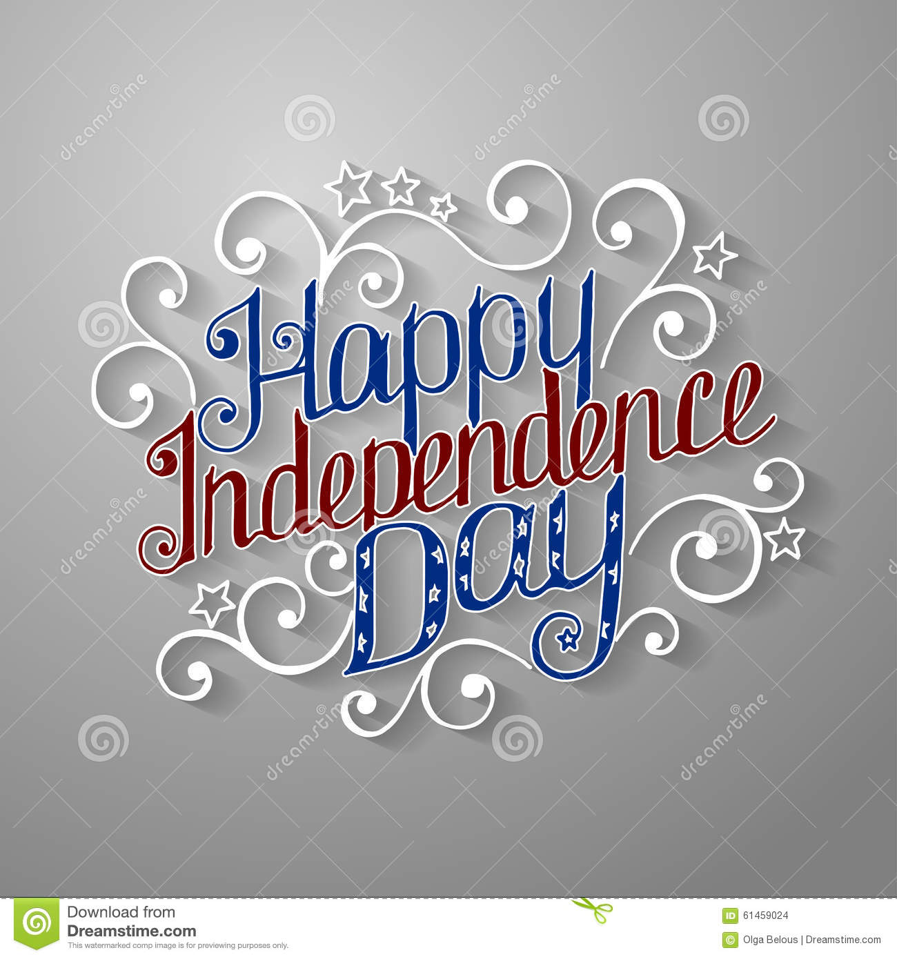Happy Independence Day Lettering With Beautiful Stock Vector