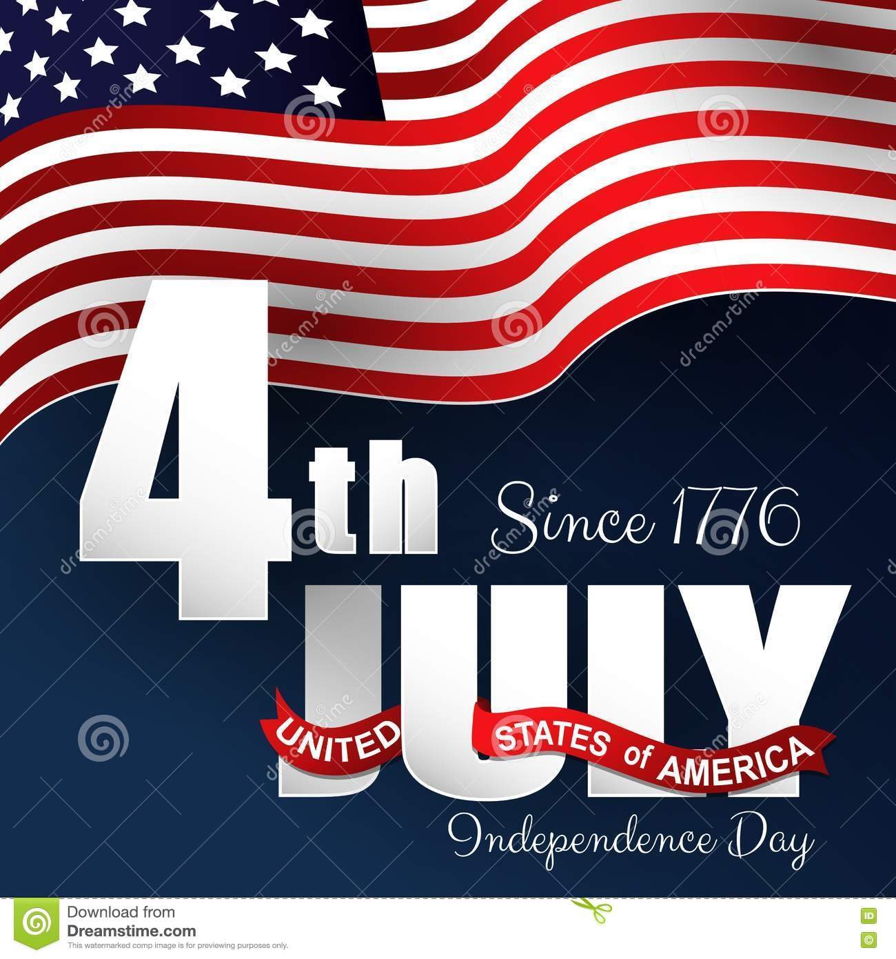 Happy Independence Day 4th July With Waving Flag Stock Vector