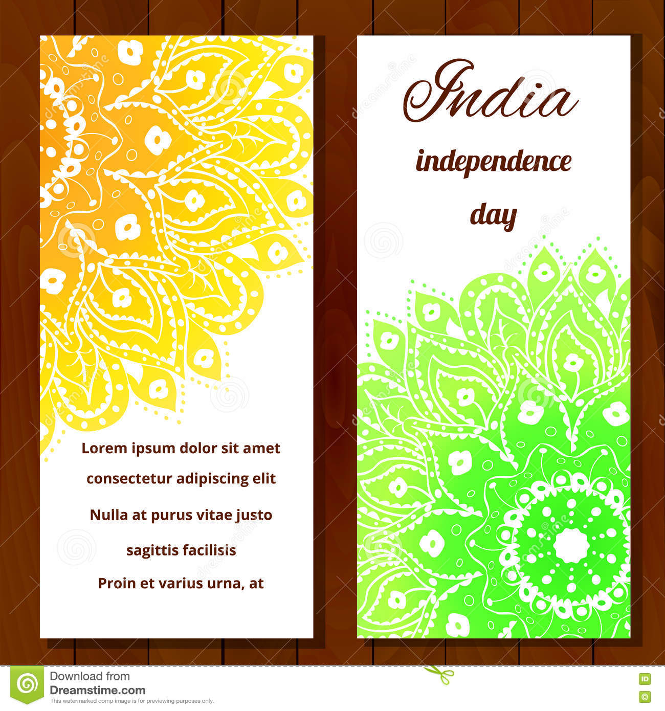 Happy India Independence Day Postcards Stock Vector Illustration