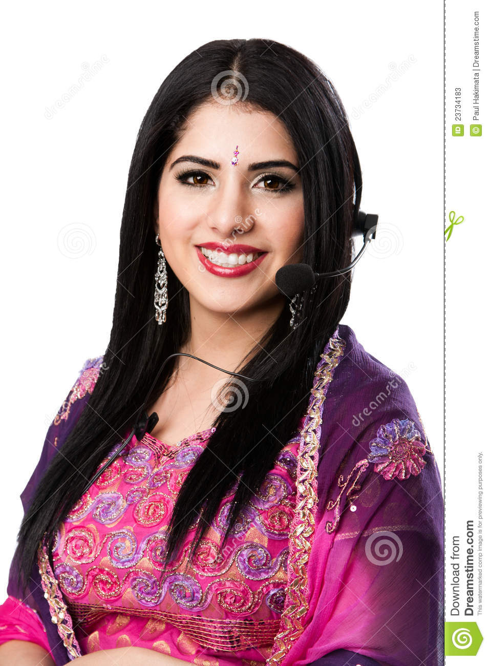Happy Indian Customer Service Representative Stock Photos