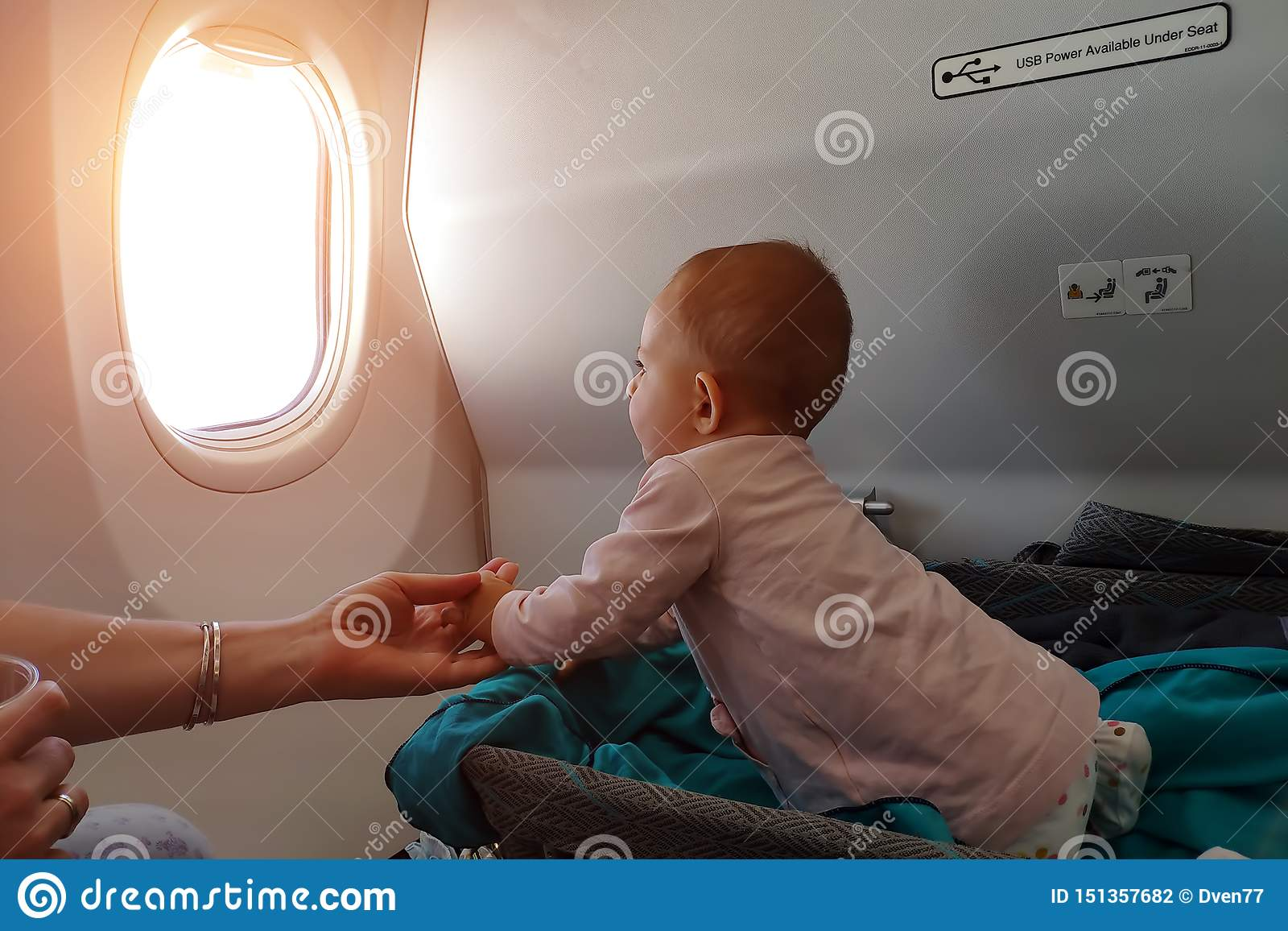 Groovy Happy Infant Baby Lyes In Special Bassinet In Airplane At Dailytribune Chair Design For Home Dailytribuneorg