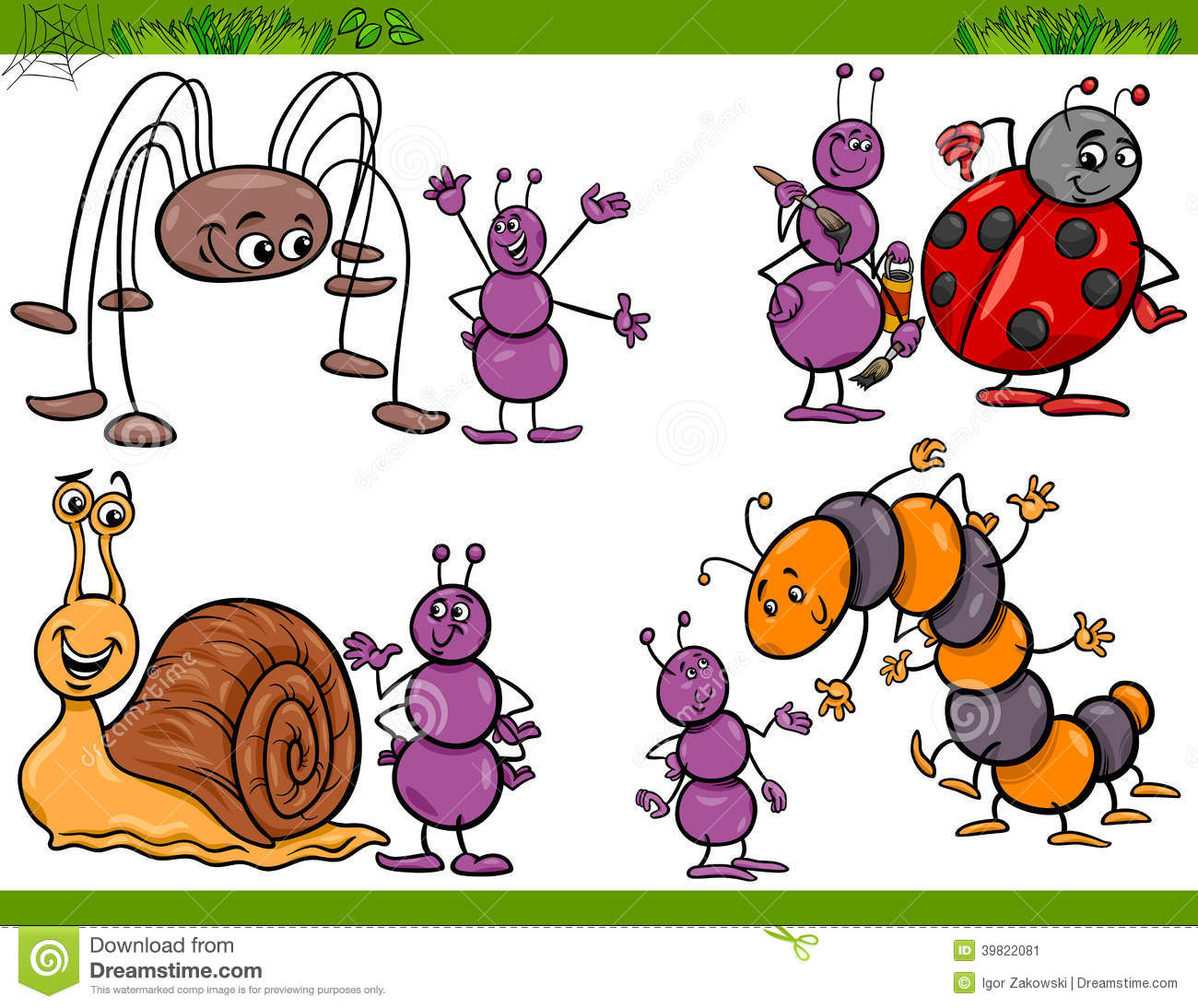 Caterpillar cartoon bugs vector illustration