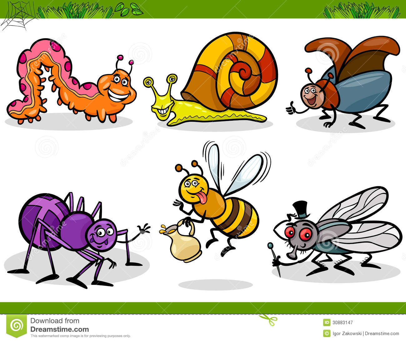 Happy Insects Set Cartoon Illustration Stock Vector ...