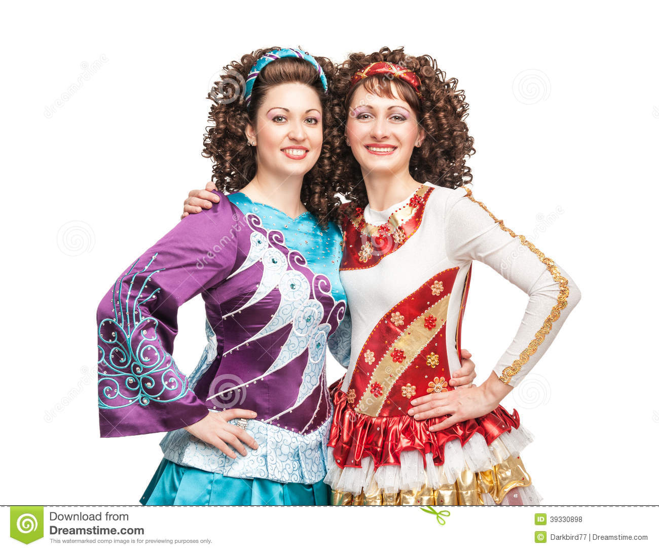 Happy young women in irish dance dresses and wigs posing isolated 0ba2d102c0