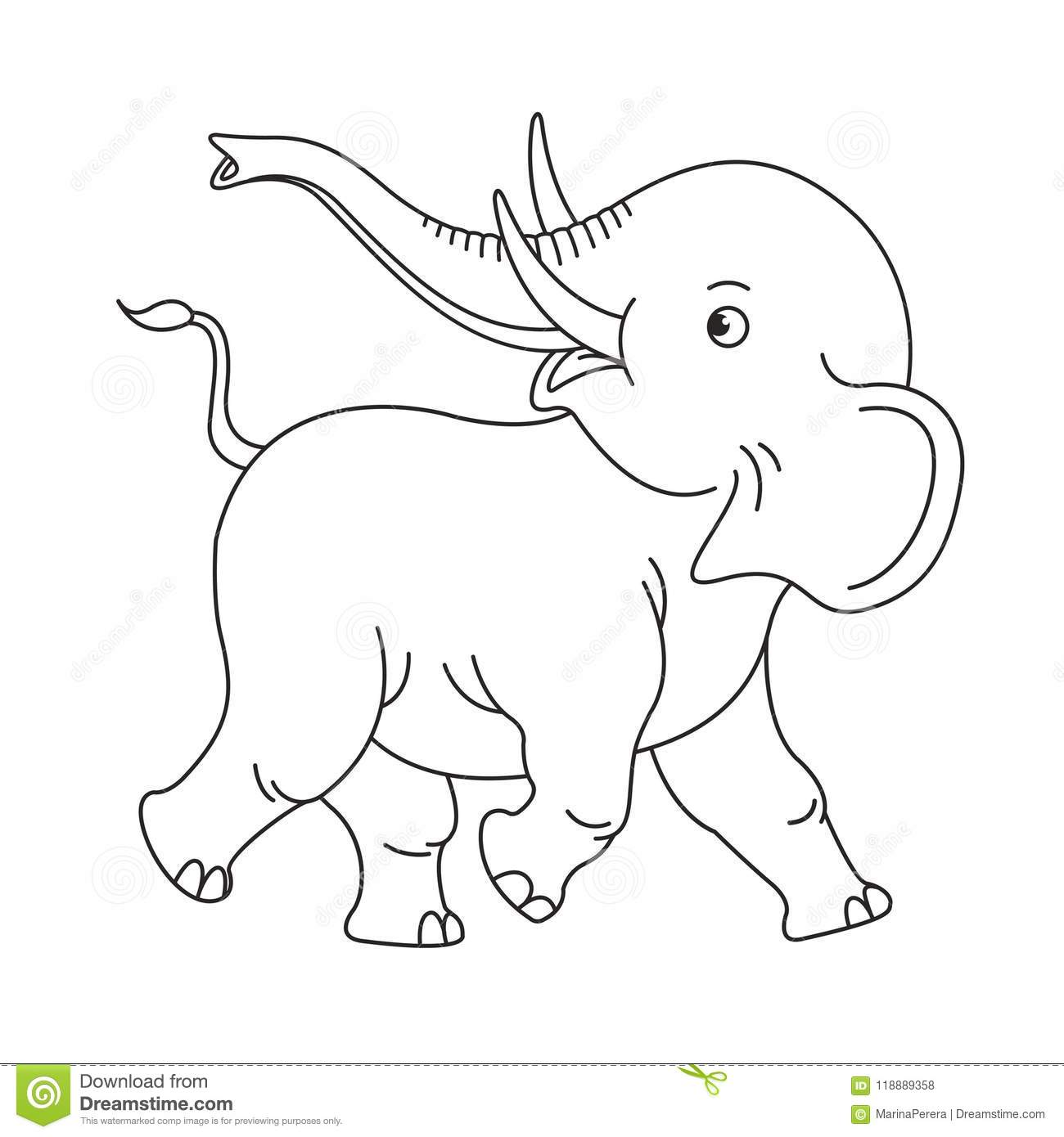 Happy Isolated Baby Elephant In Black Outline Stock Vector ...