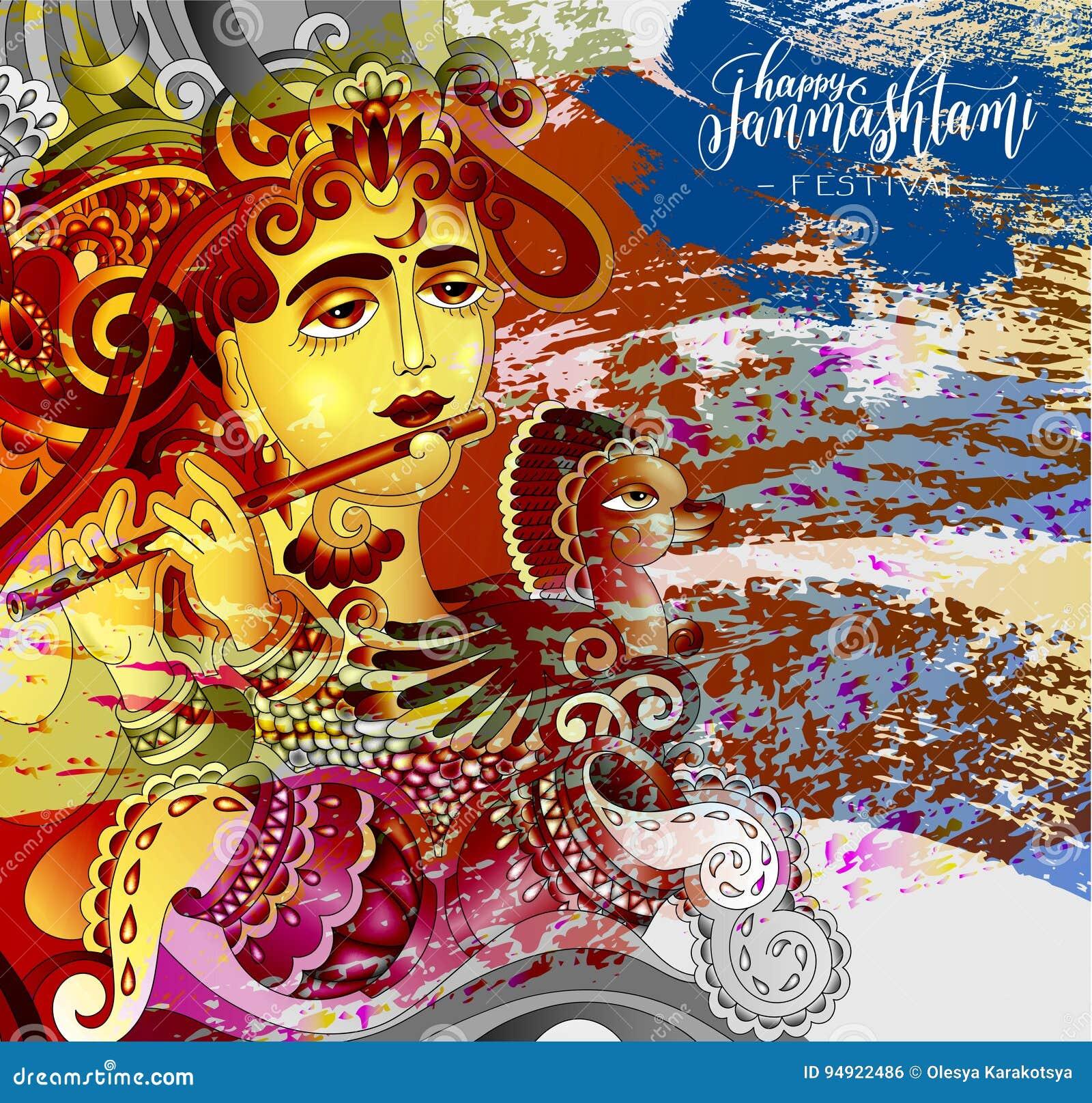 happy janmashtami celebration design greeting card stock