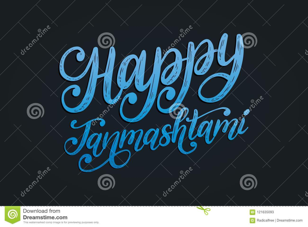happy janmashtami hand lettering calligraphy black background vector illustration devoted krishna holiday happy janmashtami 121635093