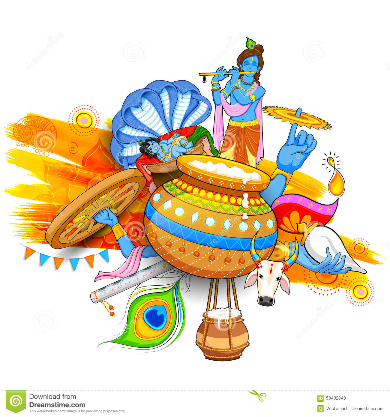 Happy Janmashtami Stock Vector Image 58432949