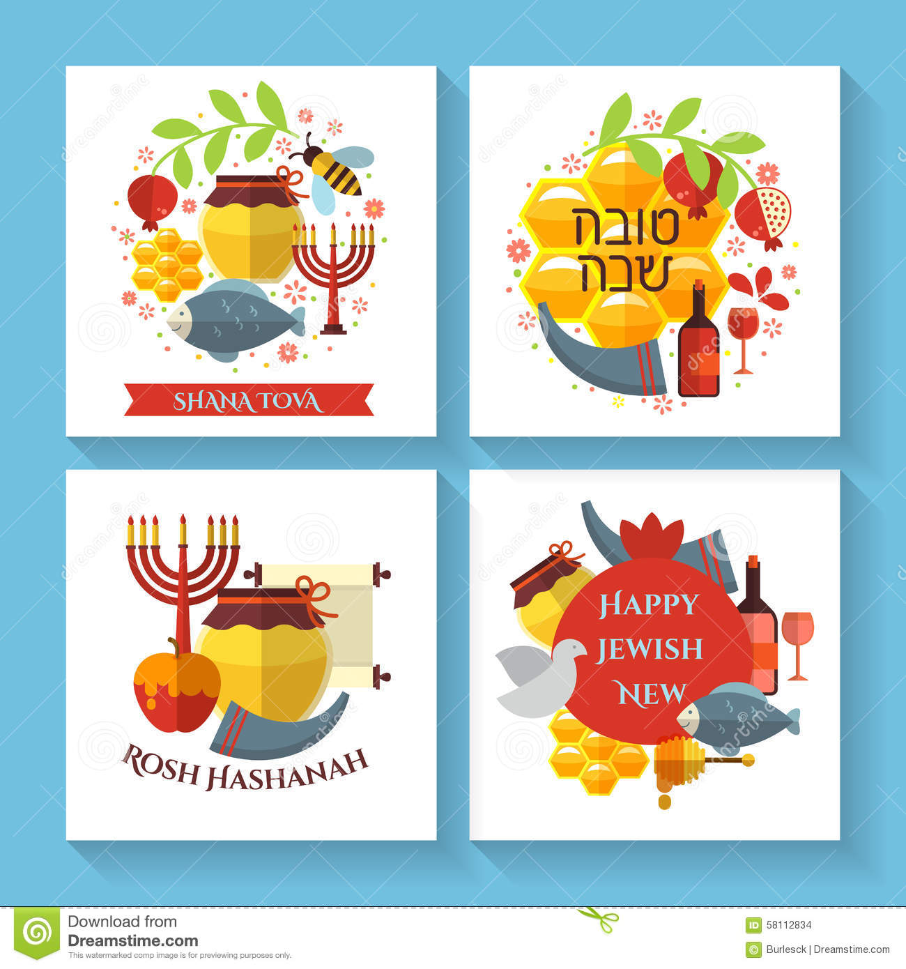Happy jewish new year shana tova greeting cards stock vector happy jewish new year shana tova greeting cards kristyandbryce Choice Image