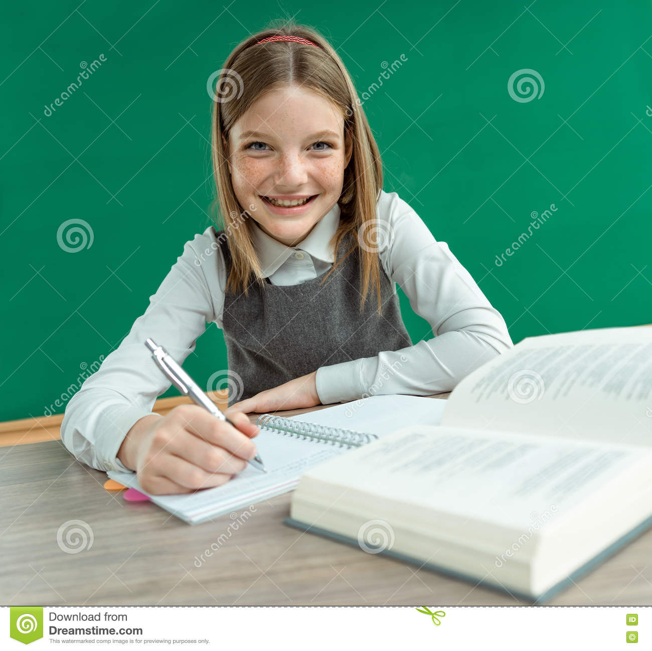Clever School Girl: Happy Joyful Teenage Girl Teaches Homework. Stock Photo