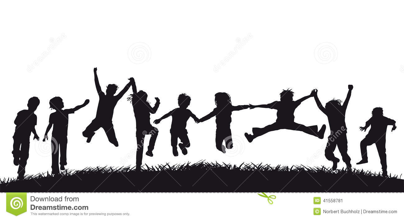 Happy jumping children silhouettes