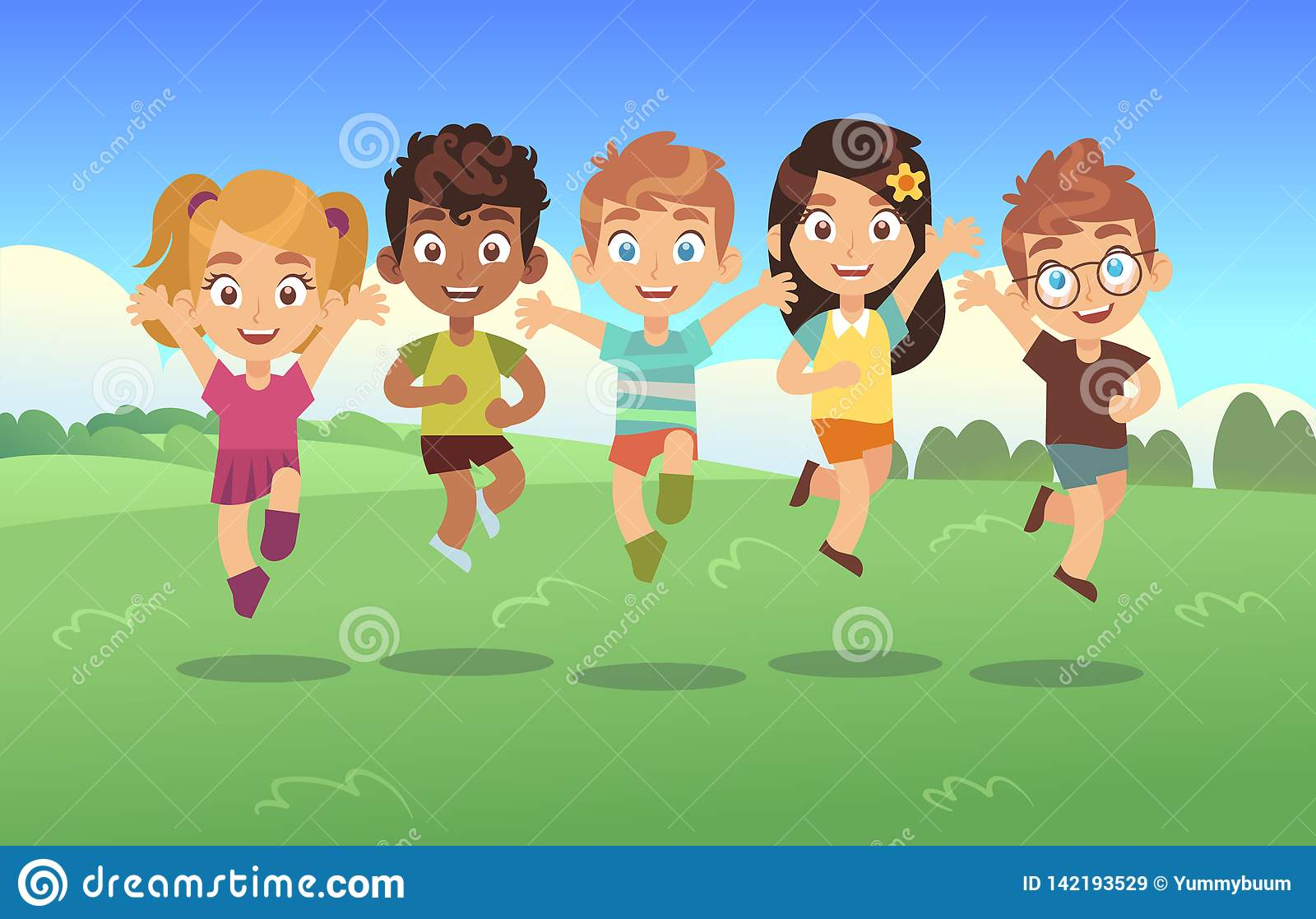Happy jumping kids. Children holiday cartoon panorama childrens summer meadow park teenagers jump together background
