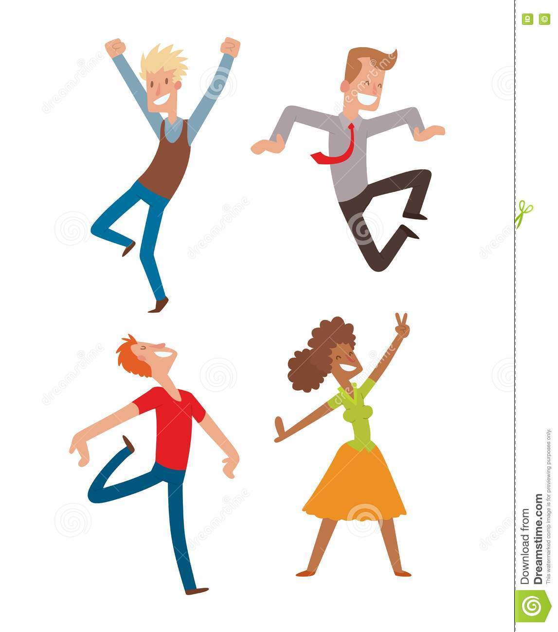 Happy Jumping People Vector Set. Stock Vector - Image ...