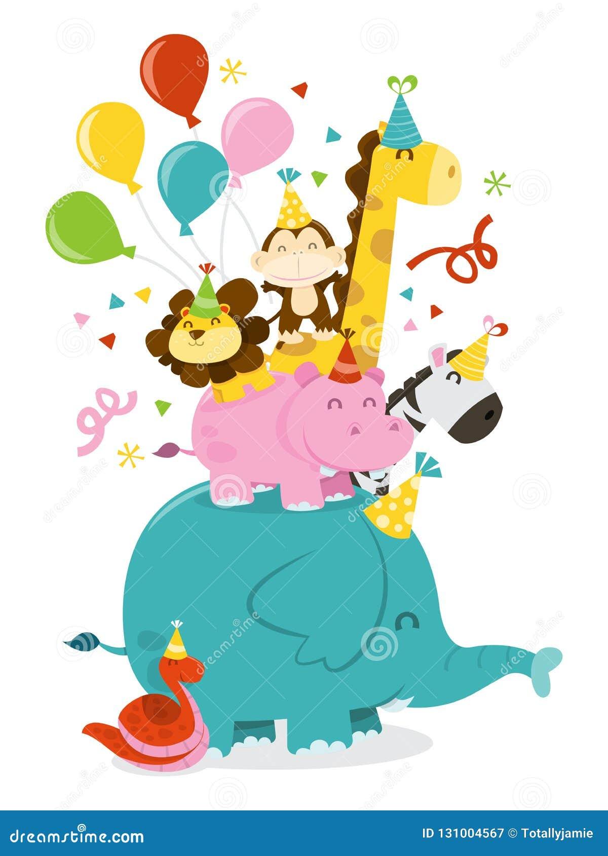 Happy Jungle Animals Party Celebration Stack Stock Illustration Illustration Of Celebration Vector 131004567
