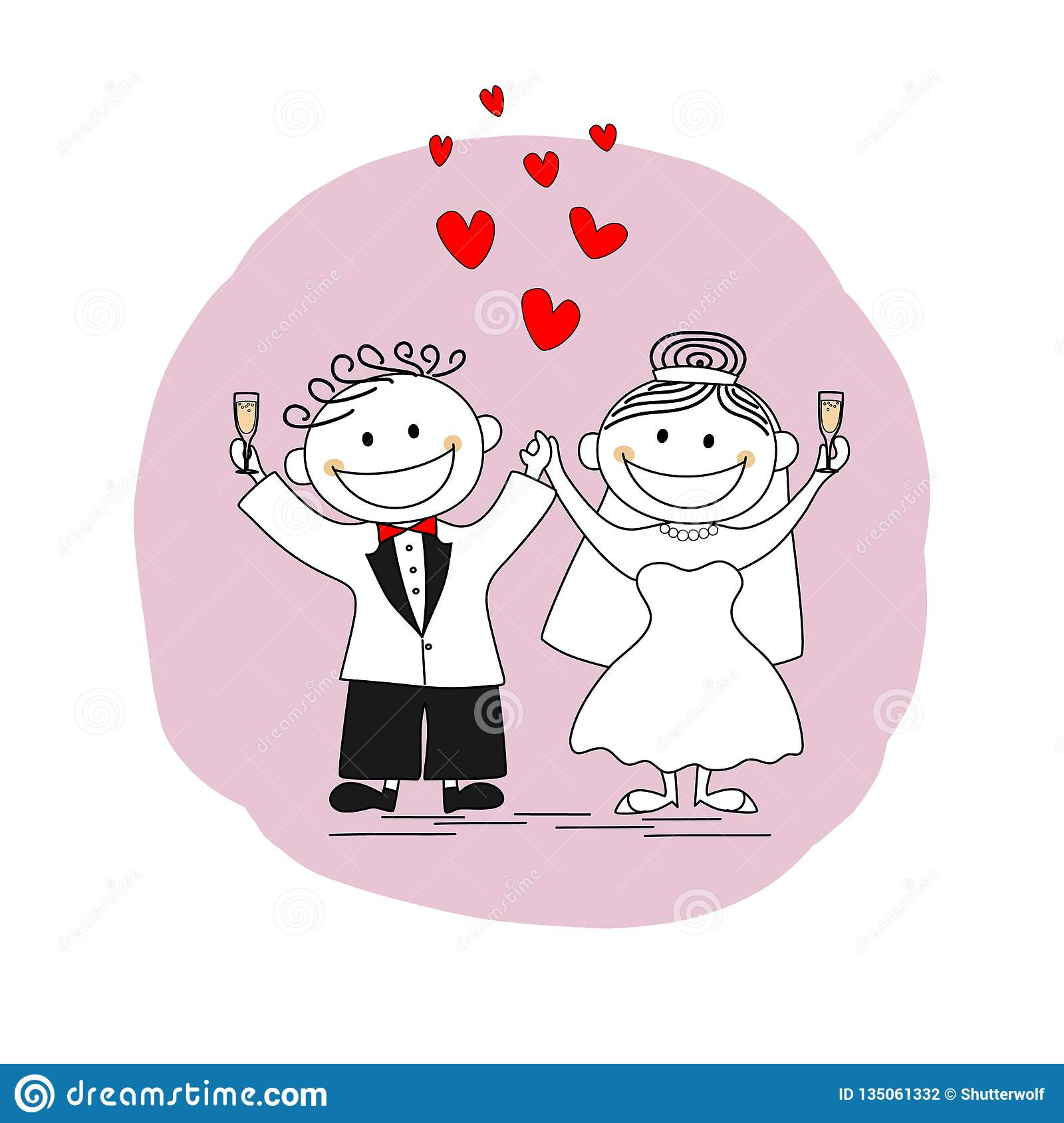 Happy Just Married Couple Toasting Stock Vector