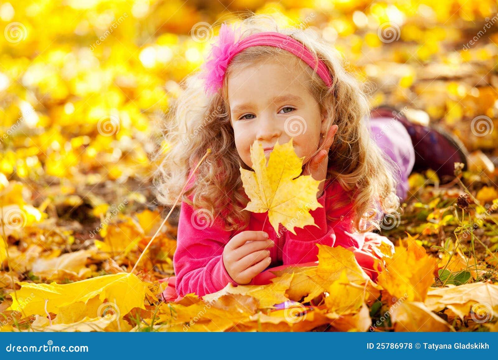 Happy Kid In Autumn Park Royalty Free Stock Photos Image