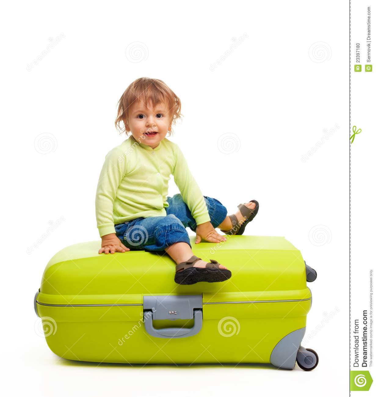 Happy kid with baggage