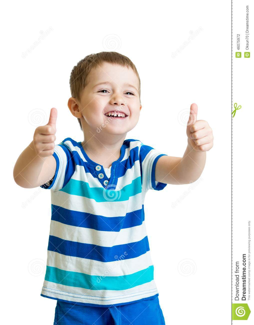 Happy kid boy with hands thumbs up