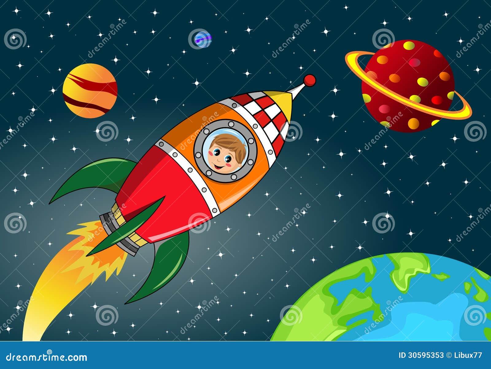Happy Kid Exploring In Space Rocket Stock Photos Image