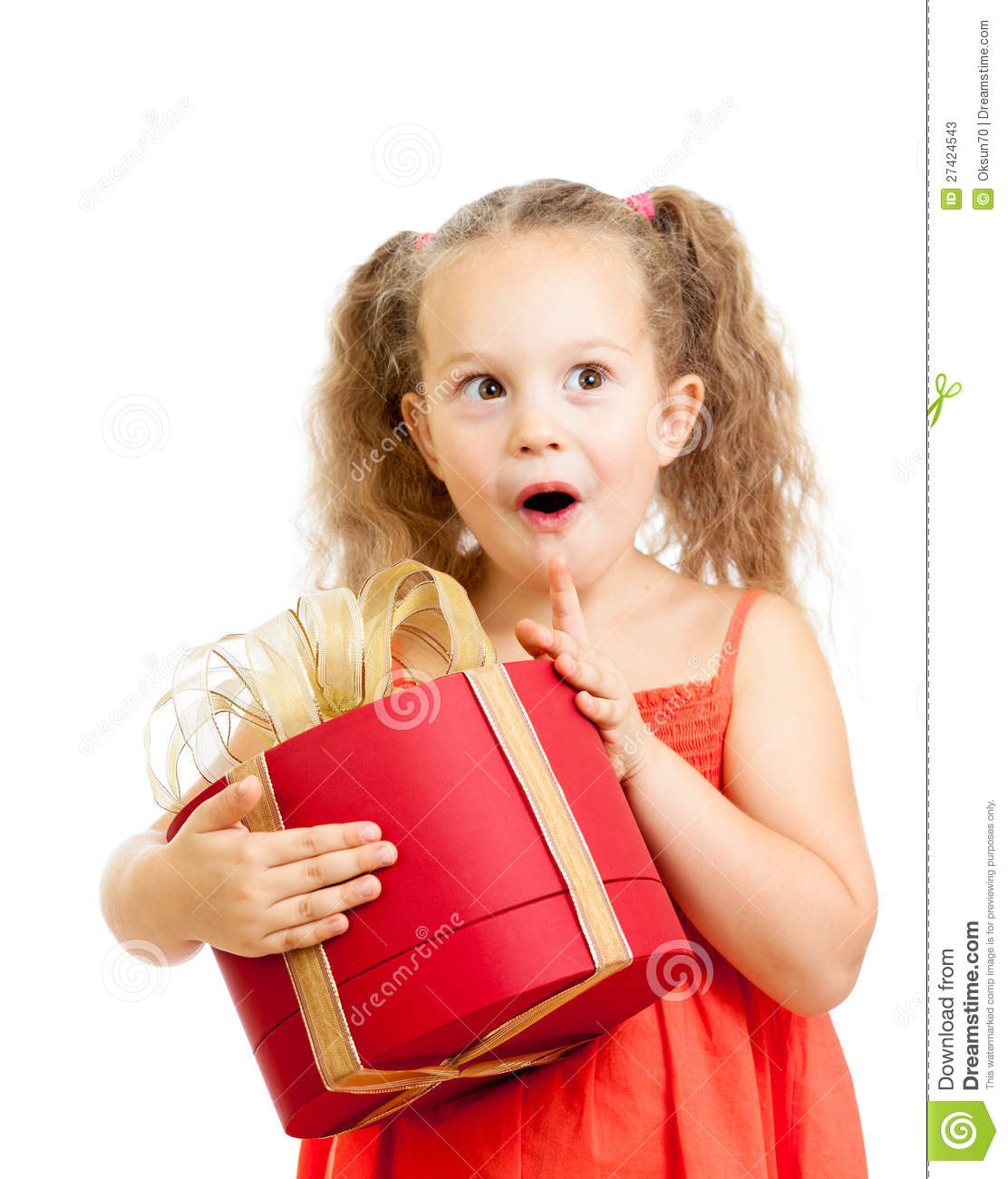 Happy Kid Girl Holding Red Gift Box Stock Image
