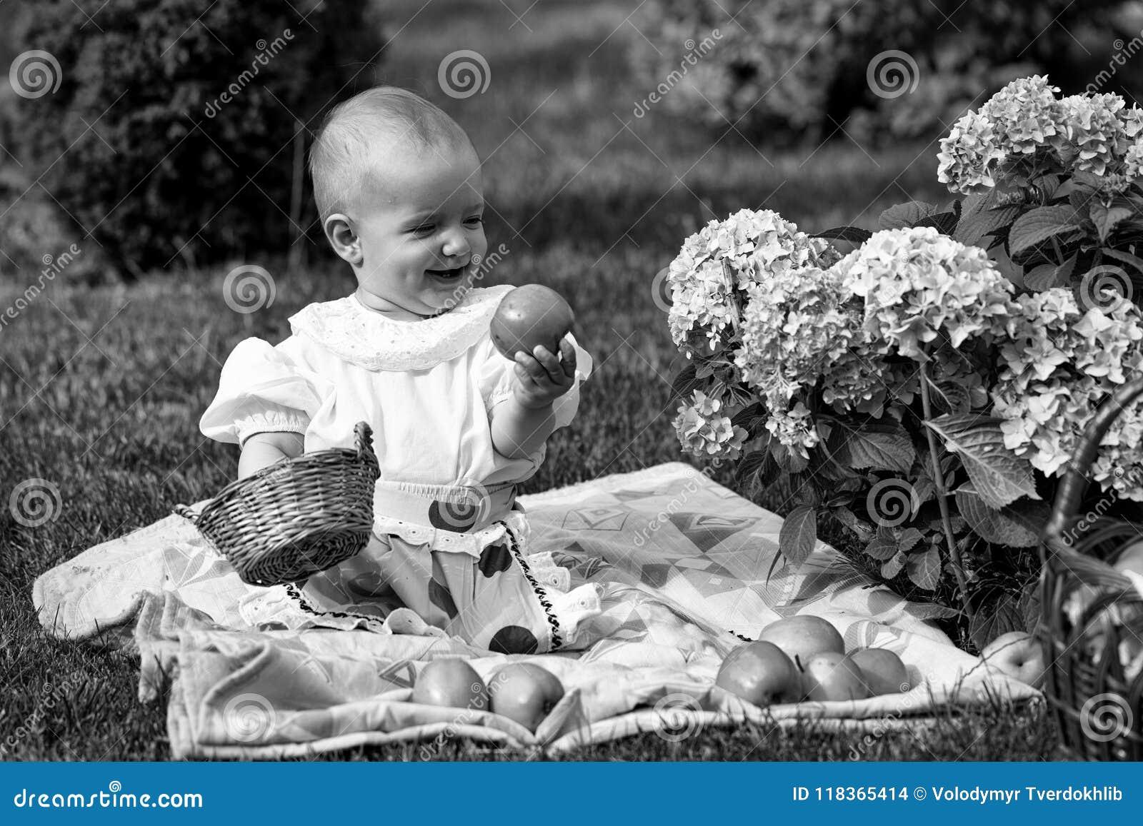 6686c85f2185 Happy Kid Having Fun. Baby Girl On Picnic Stock Photo - Image of ...