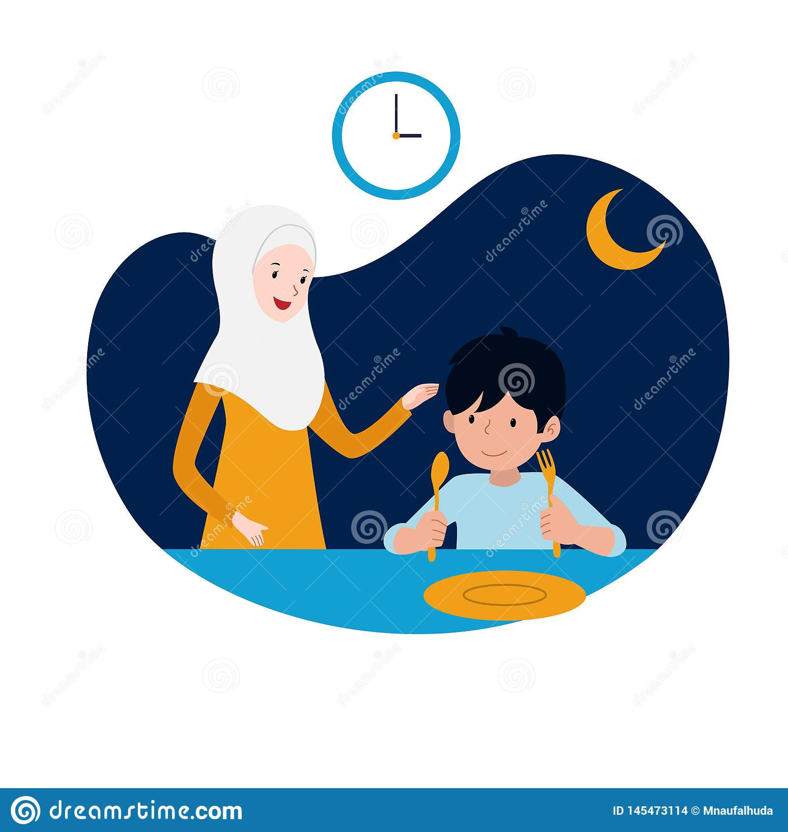 Happy kid and his mother ready for sahur or pre-dawn meal before start fasting vector illustration. family ramadan activity