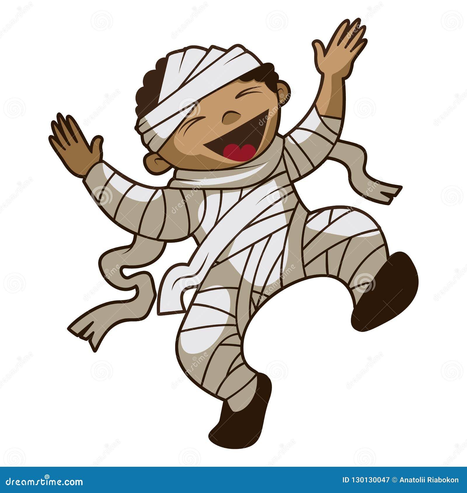 Happy kid mummy icon, cartoon style