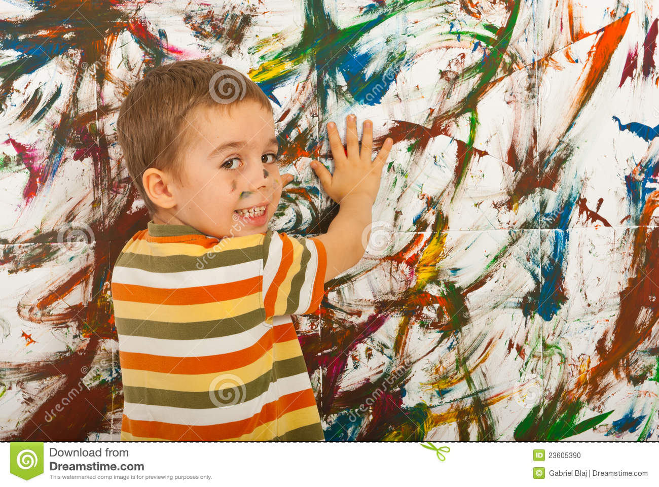 Person painting wall - Happy Kid Painting With Palms A Wall Stock Photo Image 23605390