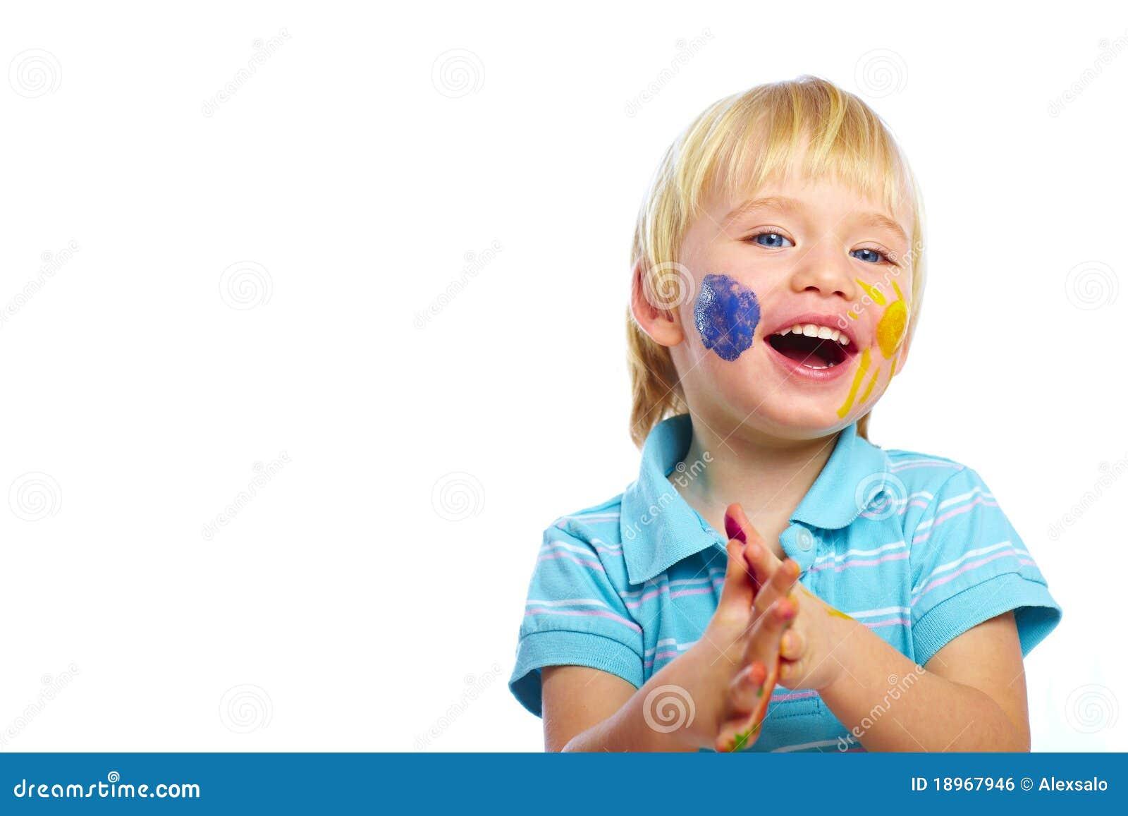 Happy Kid With Paints ...