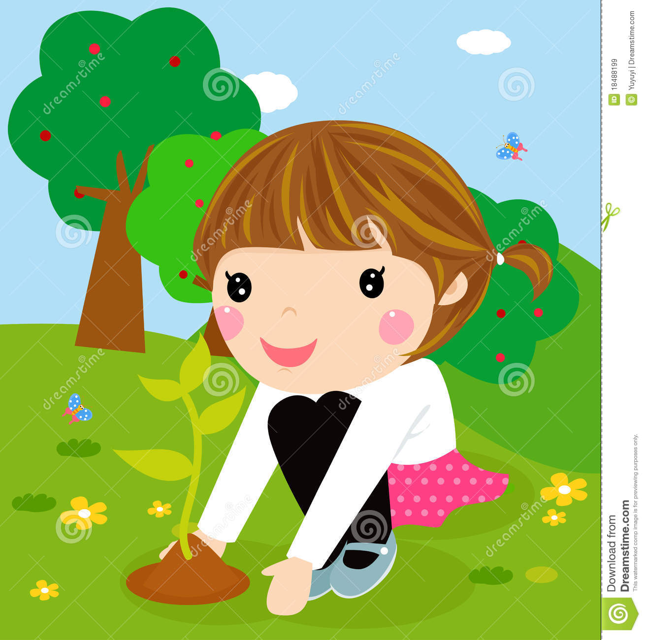 Spring flowers clipart clipart kid - Happy Kid Is Planting Small Plants Royalty Free Stock Images Image