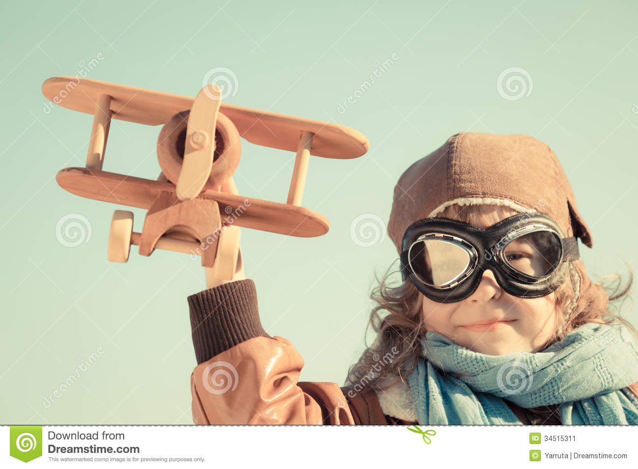 Happy Kid Playing With Toy Airplane Stock Image - Image: 34515311