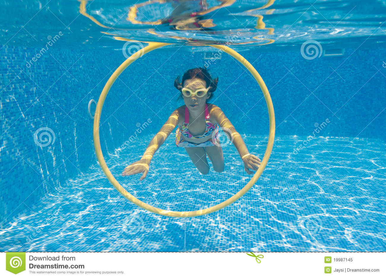 Happy Kid Swimming Underwater In Pool Stock Image Image