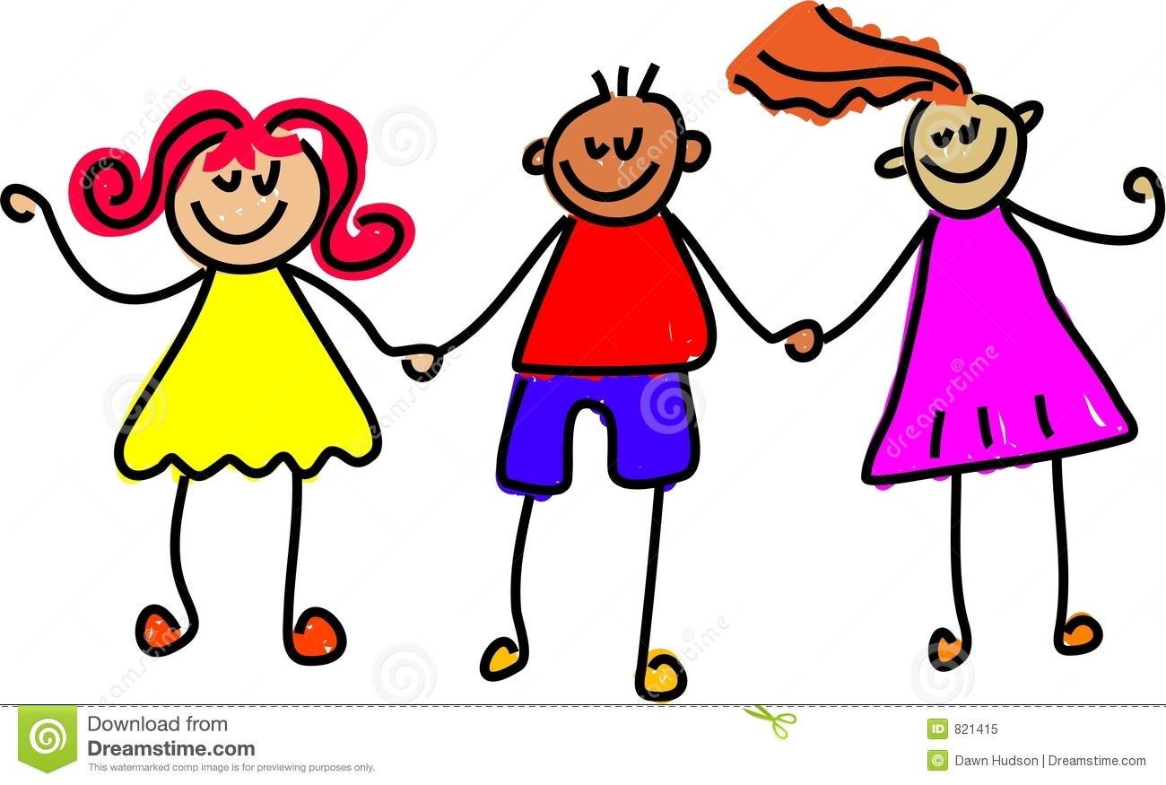Trio of happy kids holding hands - toddler art series.