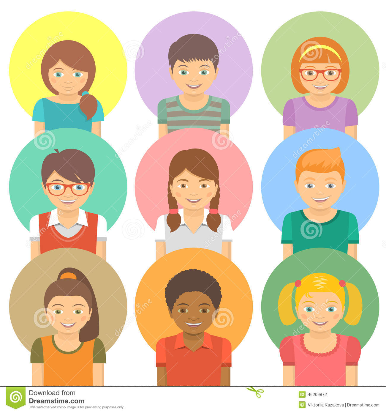 Happy Kids Avatars Stock Vector Image 46209872
