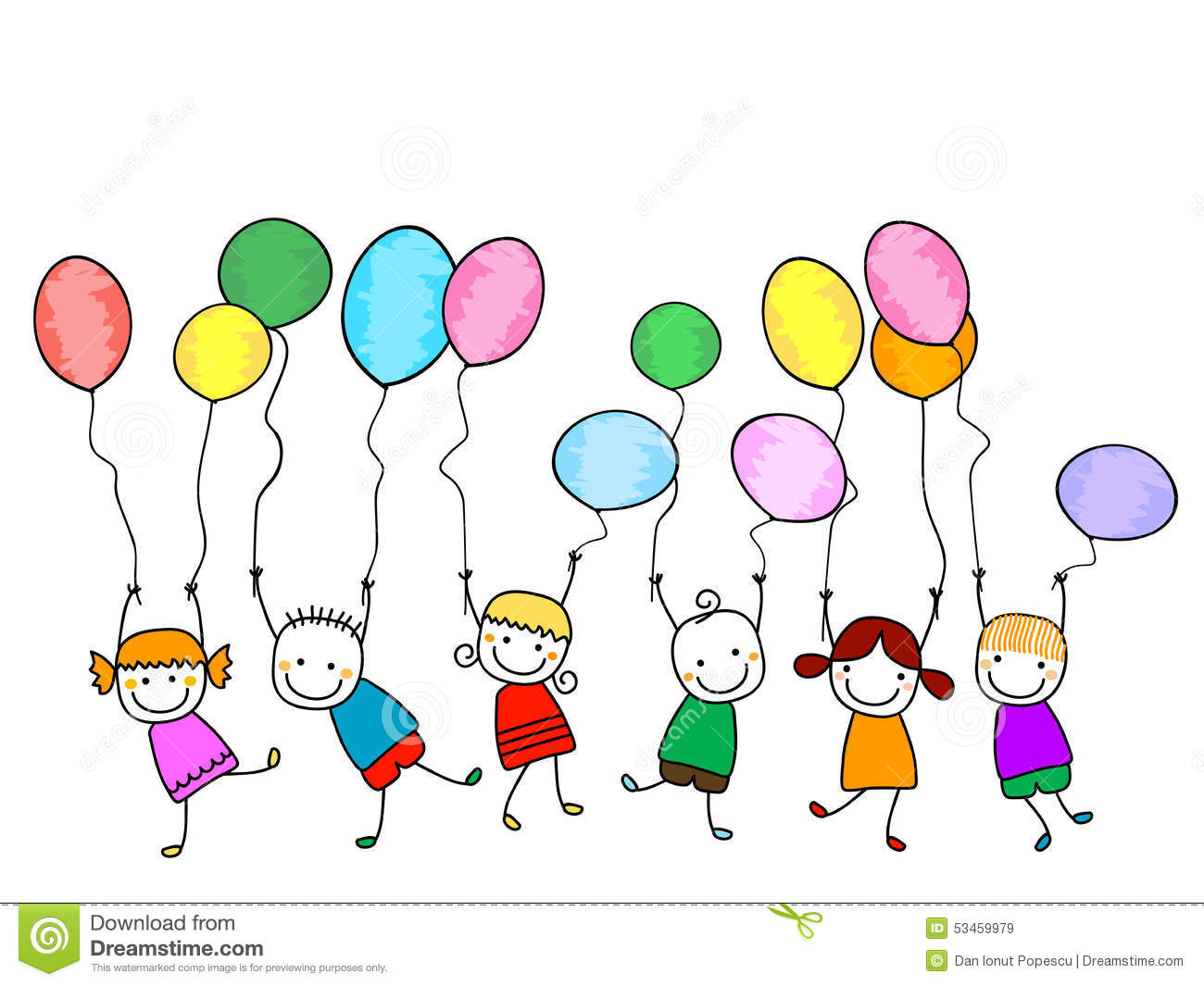 Happy Kids With Balloons Stock Vector Image Of Boys