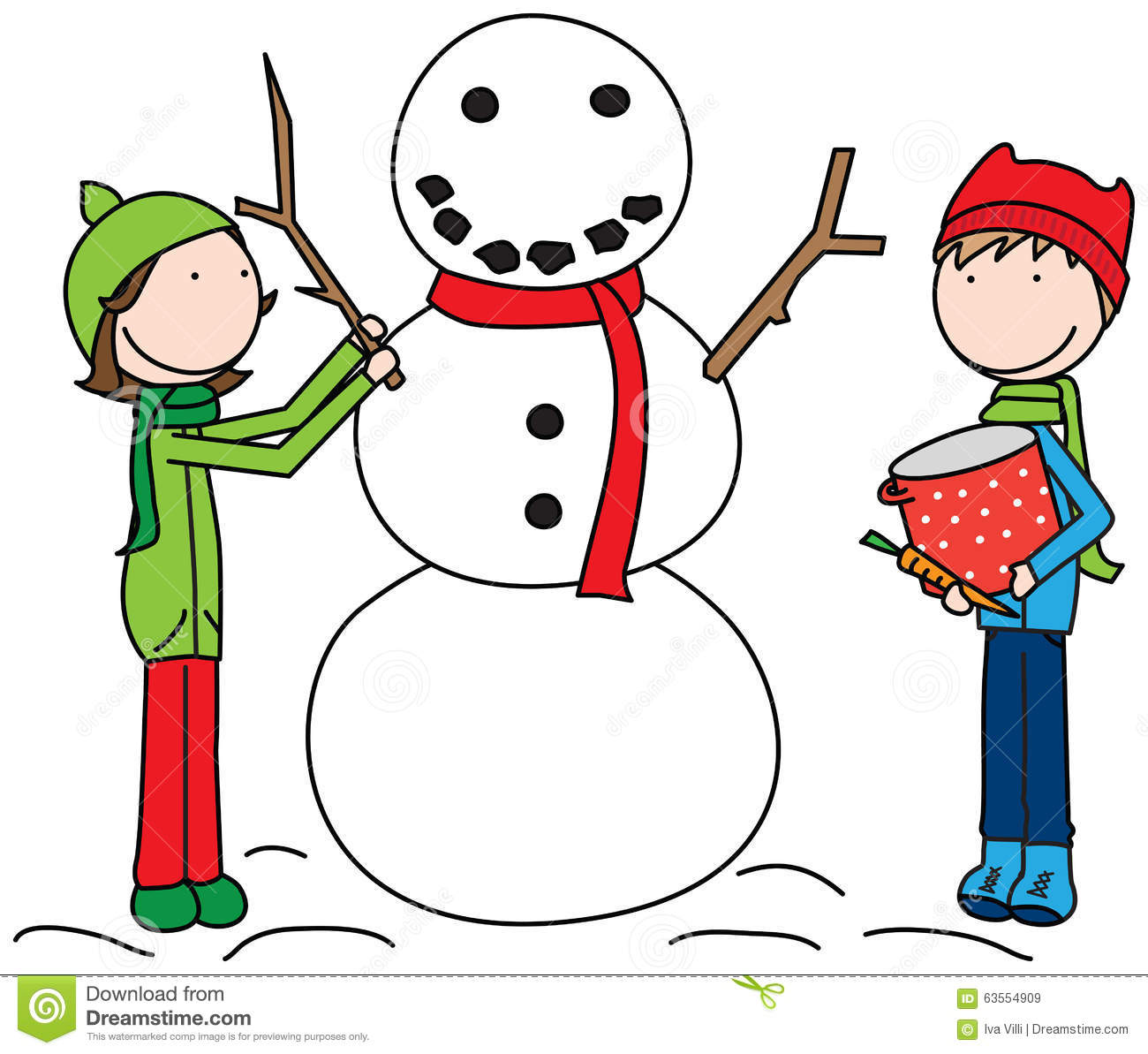 Happy Kids Building A Snowman Stock Vector - Image: 63554909