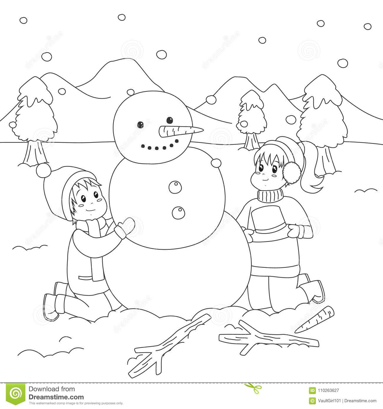 photo relating to Snowman Printable Coloring Page titled Joyful Children Planning A Snowman. Coloring Web page Cartoon Vector