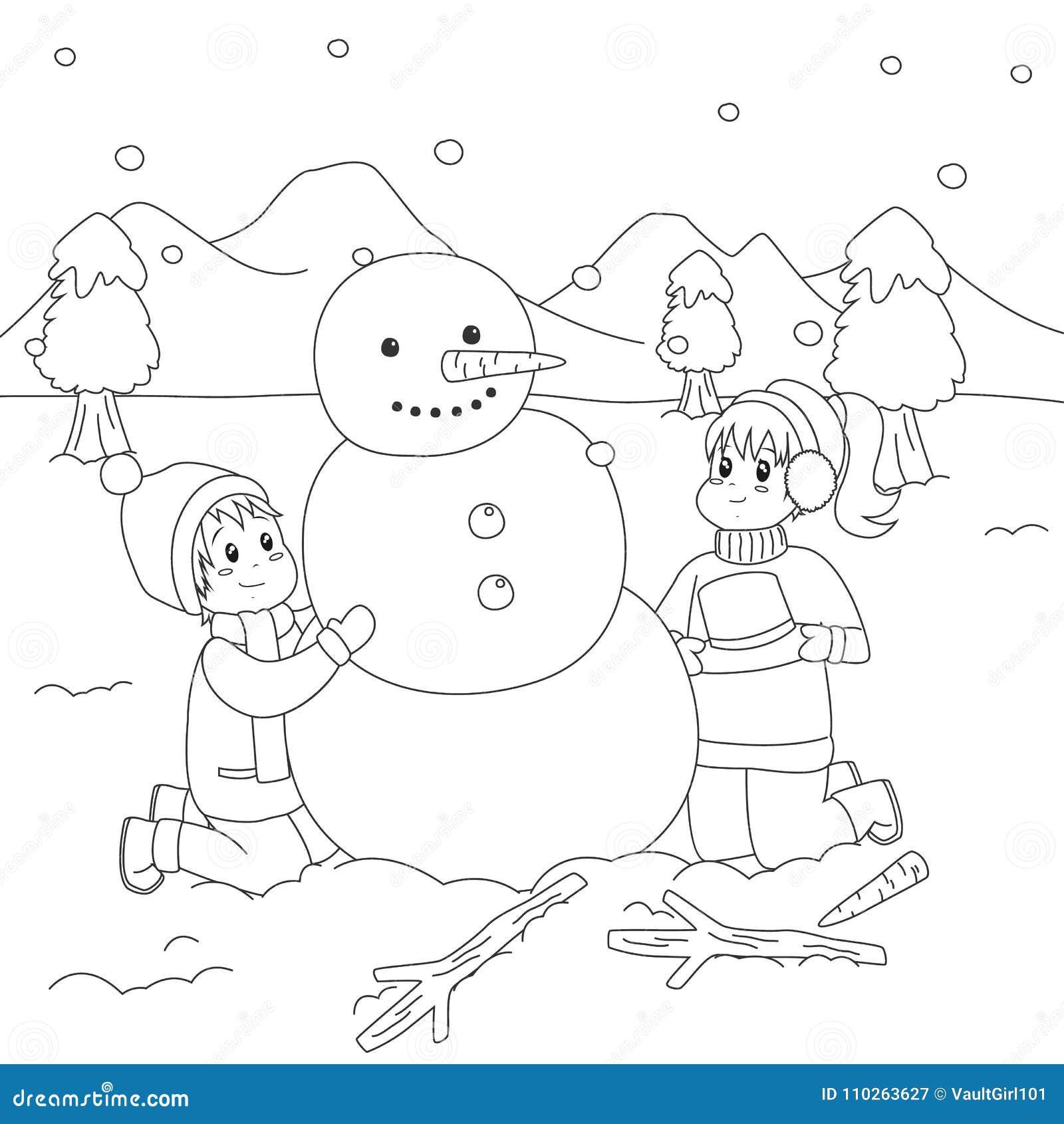 Happy Kids Building A Snowman. Coloring Page Cartoon Vector Stock ...