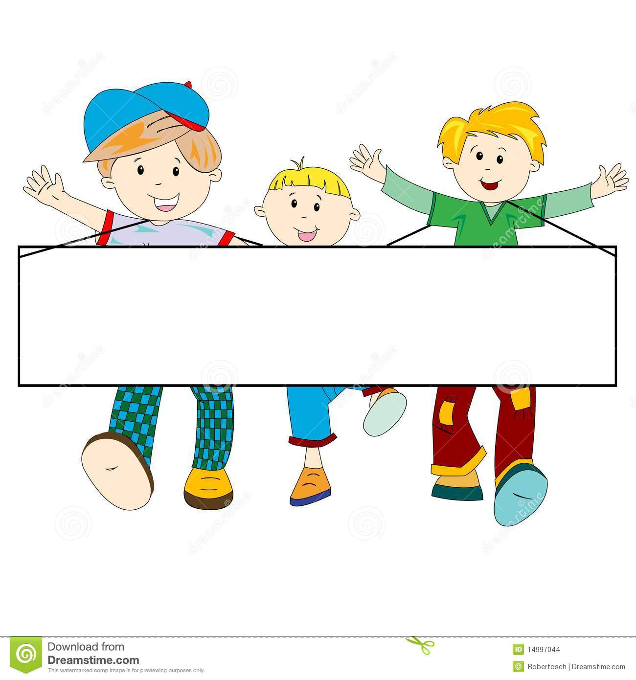 Happy Kids Cartoon With Blank Banner Stock Images - Image: 14997044