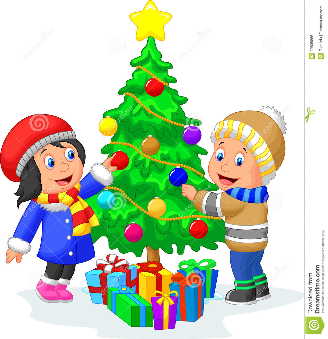 Happy Kids Cartoon Decorating A Christmas Tree With Balls Stock ...