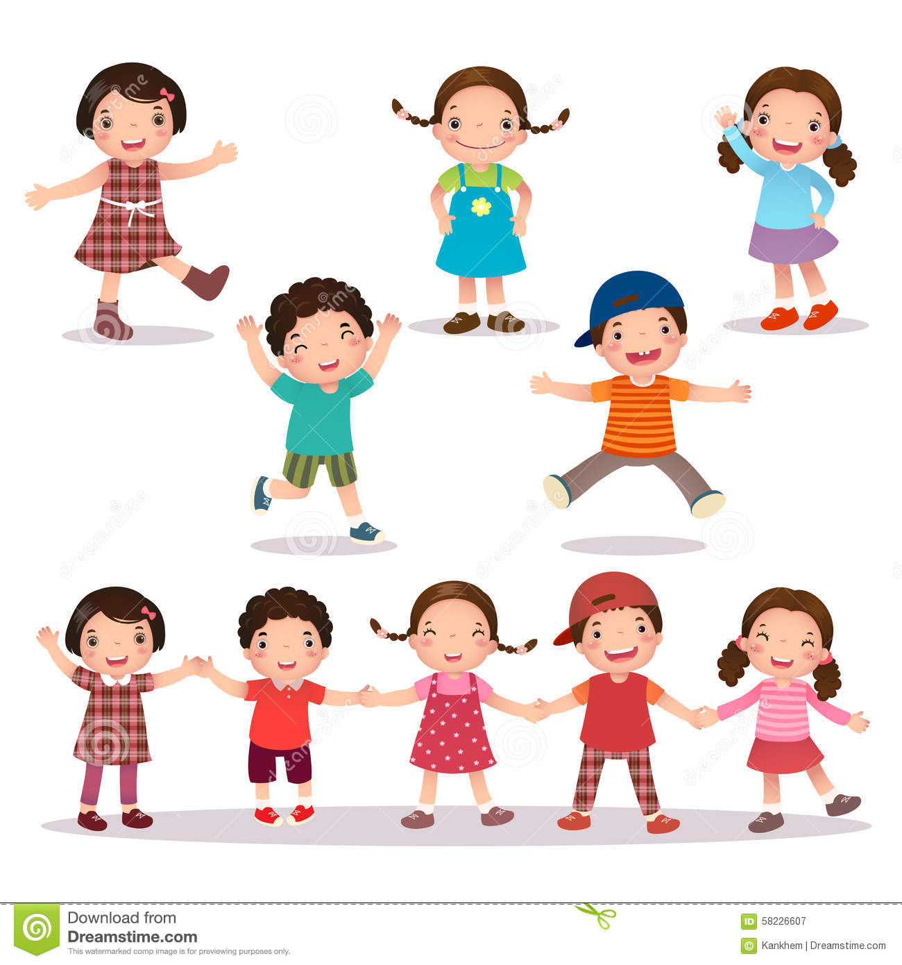 Kids Holding Hands Stock Photos and Images