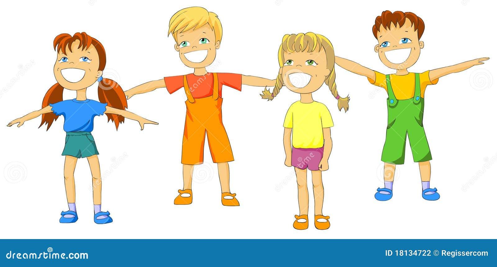Happy Kids Doing Exercises Stock Illustration Illustration Of Activity Happy 18134722